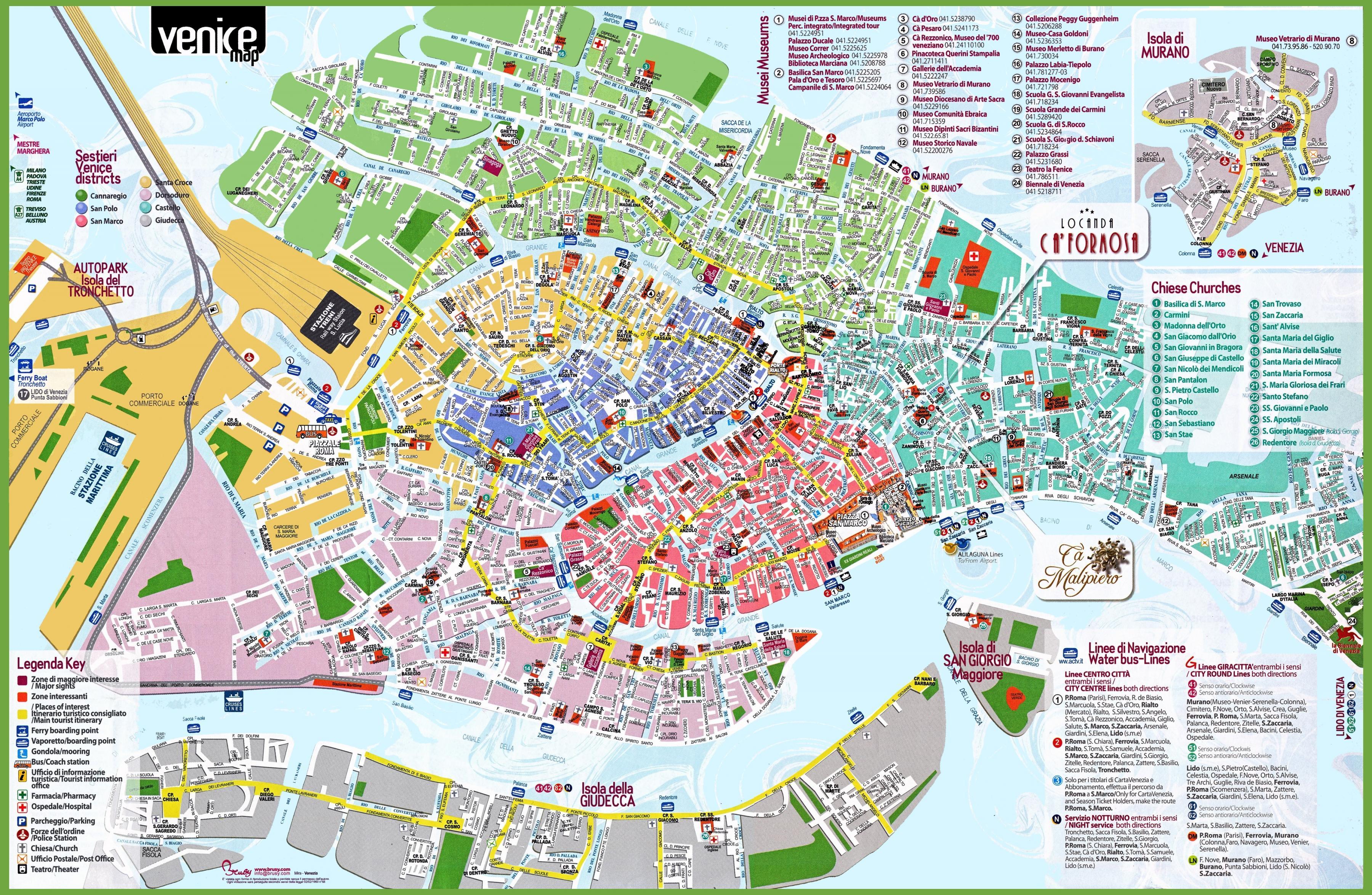 Turist Kort Over Venedig Italien Venedig Og Turistinformation