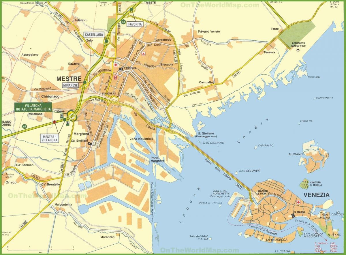 Kort Over Venedig Italien Og Omegn Kort Venedig Italien