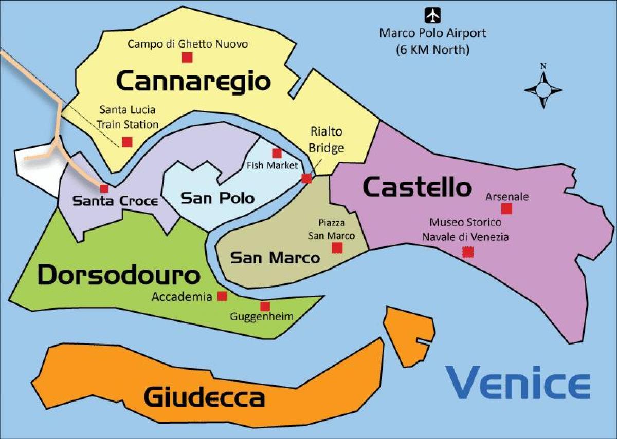 Venedig Omrade Kort Venedig Regioner Kort Italien